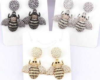 3Pairs Fashion Micro pave CZ bee dangle earrings High quality insect earrings jewelry gift for women