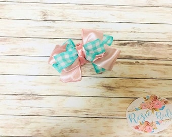 Pink Silk & Teal Plaid Hairbow/Hairclip