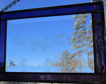 "Stained Glass, Etched,  Sun Catcher -""Owl Always Love You"" - Hand Crafted - Amethyst Purple"