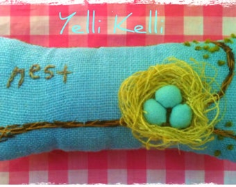 Nest Hand Embroidered 3D Details Spring Nursery Pillow Made to Order YelliKelli