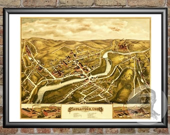 Naugatuck, Connecticut Art Print From 1877 - Digitally Restored Old Naugatuck, CT Map Poster  - Perfect For Fans Of Connecticut History