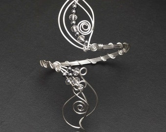 Silver arm cuff ,Silver swirl design  Upper Arm bracelet,silver plated copper wire arm cuff ,bicep  jewellery-MADE TO ORDER-