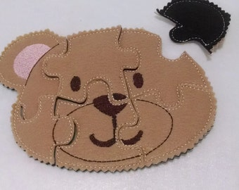 Bear Felt Puzzle - party favors for kids - party packs - busy bags - day care - learning activity for toddlers  #P786