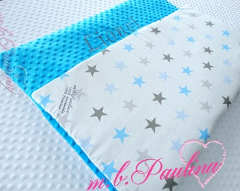 Star blanket with cuddly blue plush Minky, personalization possible