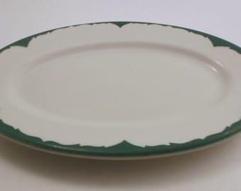 Vintage Platter, Oval White China with Green Evergreen Detail China Platter, Restaurant Ware Platter, Shenango China