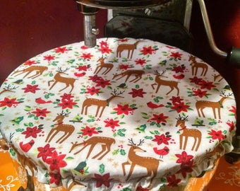 Kitchenaid/Stand Mixer Reversible Bowl Cover- Reindeer/Poinsettia/Cardinals