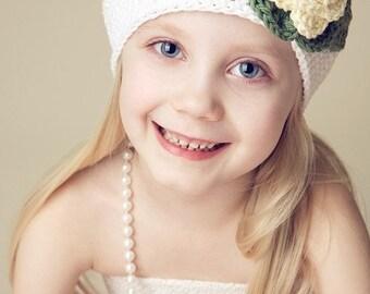 "Beanie Hat Crocheted  ""The Joleen "" Pale Yellow, White, Sage Open Weave Beanie"