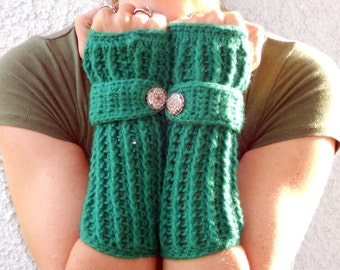Cloverfields arm warmers, fingerless gloves, texting gloves, crochet gloves, boho gloves, hand warmers, mittens, boho fashion, button gloves