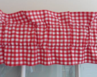 Red Gingham Ruffle Sleeve Valance ~ 43 Inches Wide