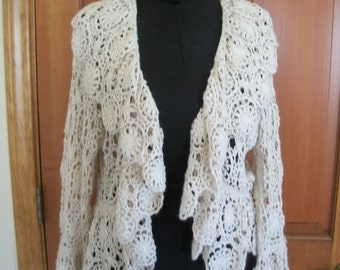 Vintage Ivory Crocheted Bolero Sweater With Scalloped Collar And Hem.  By Spiegel Size L.