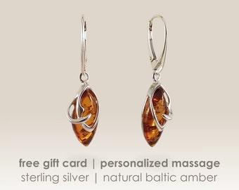 Beautiful stone amber Earrings,Amber dangle earring,Silver amber earrings,Baltic amber earrings,Amber Jewellery,Gift Jewelry,Bernstein