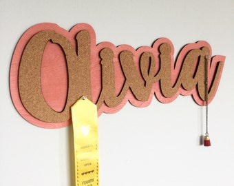 Name cork board, name sign, message board, personalized message board