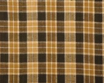 Brown Plaid Material | Homespun Material | Cotton Material | Cotton Quilt Fabric | Rag Quilt Material | Primitive Plaid Material