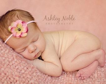 Baby Headband Organic Headband Newborn Tieback Flower Headband Photo Prop Vintage Prop Pink Headband Newborn Photography Headband