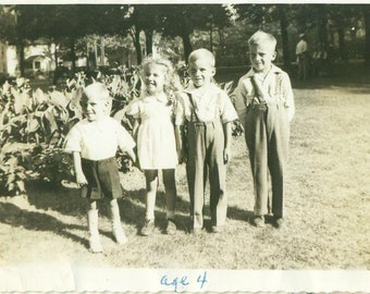 1946 Doug Sandy Daryl Dan Family Brothers Sister Kids 40s Vintage Photograph Black White Photo