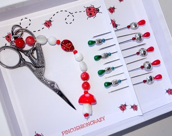 Ladybug Sewing Set - Ladybird Pins - Stork Scissors - Ladybug Scissor Fob - Sewing Gift - Gift fot Quilter - Decorative Sewing Pins - Cute