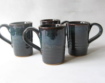 Pottery Mugs Set of 4, Coffee Mugs 12 oz., Set of Handmade Mugs, Stoneware Mugs
