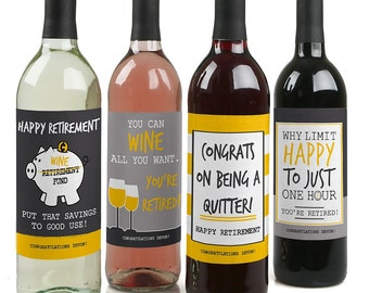 Retirement Party - Custom Retirement Wine Bottle Labels for Retirement Parties - Set of 4 Personalized Sticker Labels