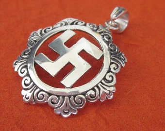 Sterling Silver Swastika Pendant / silver 925 / 5,000 years old Hindu sign of good luck