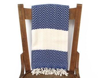 Pestemal werfen Decke Sofa Throw türkische Handtuch Strand Decke handgewebte Baumwolle türkisches Bad Handtuch Fouta Handtuch Streifen BLAU CHEVRON LALE
