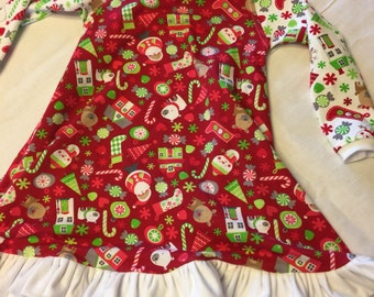 Christmas dress !!Beautiful T-shirt dress. Awesome four way stretch, super soft, Riley Blake christmas fabric