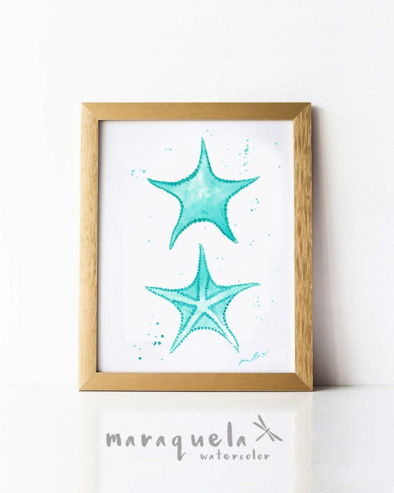 STARFISH illustration in Watercolor. Light blue hues