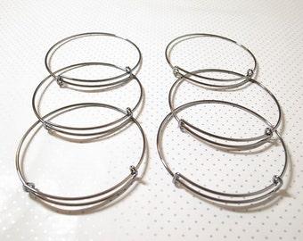 6 Pieces Black Expandable Bangle, Adjustable Charm Bracelet, Personalized Bracelet, Stackable Bangle, Initial Monogram