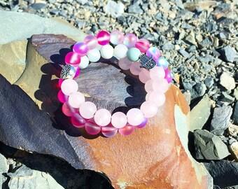 Rose Quartz Bracelet, Self-Love, Aura Quartz, Rose Quartz, Amazonite, Tranquility