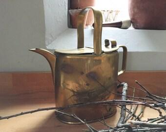 Antique Brass Watering Can, Water Jug, Antique Garden Decor, Country Kitchen Decor, Planter