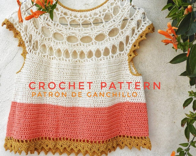 Featured listing image: Xochitl Top Crochet Pattern