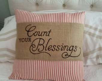 Handpainted Count Your Blessings  Pillow Wrap in burlap