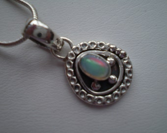 Opal (Natural) 925 Antiqued Sterling Silver Necklace - 18 Inch