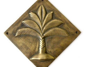 Palm Tree Brass Plaque, Wall Decal,  Embossing, Tropical Living, Vintage