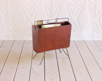 Vintage Butler #733 Wood Brass Magazine Rack Holder Mid Century 60's 50's Atomic Retro Modern RARE Newspaper Storage