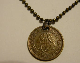 1950's South Africa 1/4 Penny Farthing Coin Pendant/Charm & Chain Necklace Oat Sprigs, Berries and Birds #75