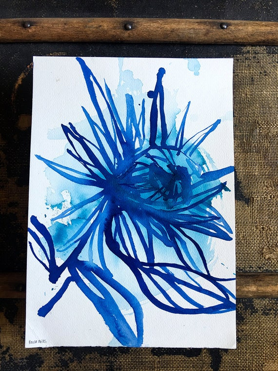 Original watercolor and ink painting on paper Blue Protea No.1 artwork by Paula Mills