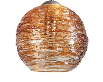 Honey Gold Spun Hand Blown Glass Pendant Hanging Lights  by Rebecca Zhukov