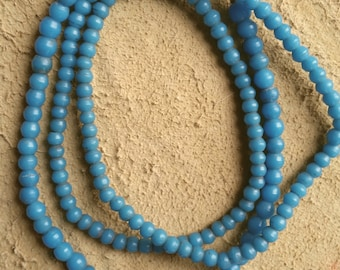 4mm to 5mm turquoise blue Prosser African trade beads, 25 inch strand (#2)