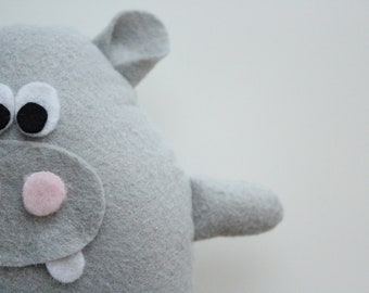 Henri Hippo, Lambwool Plush toy, Soft Toy, Hippopotamus, Stuffed Animal, handmade, Plushie, Softie, Gift Idea, Free shipping, Gift for Kids
