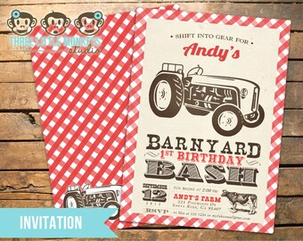 Vintage Barnyard Bash Invitation with Tractor