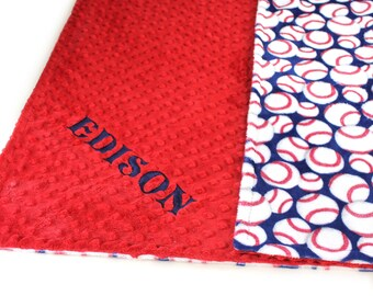 Adult Minky Throw Blanket, Red Blue Baseball Blanket, Personalized Blanket, Baseball Throw Blanket, Twin Blanket, Personalized Gift