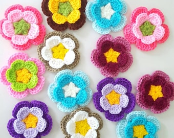 12 pcs Crochet Flowers Handmade Applique Embellishment sewing in multi-color size 2.5 ""