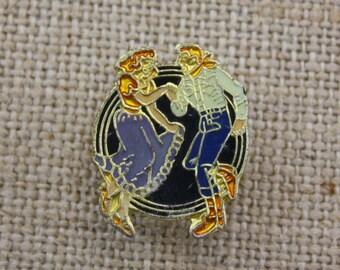 Square Dancing - Enamel Pin by American Gag Bag Inc. - Vintage Novelty Pin c. 1980s