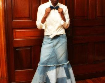 Custom Patchwork LONG DENIM MERMAID, Flare Hippie Boho Maxi Jean Skirt