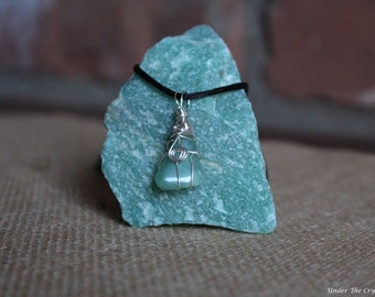 Small Aventurine Wire Wrapped Necklace