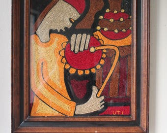 "Vintage Mid Century Modern Embroidery Art, Textile, Framed, Signed ""UTI"""