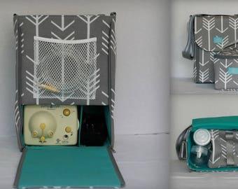 Half size Alana style Breast Pump Bag in PP Gray Arrows print