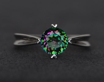 mystic topaz ring rainbow topaz ring silver round cut gemstone ring solitaire ring