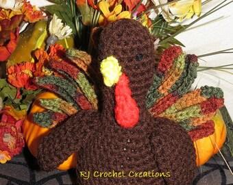 Crochet Turkey, Amigurumi Thanksgiving Stuffed Plush Crocheted Toy