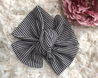 Black/white Striped Headband, Baby Headband, Baby Photo Prop, Baby Headwrap, Top Knotted Headband